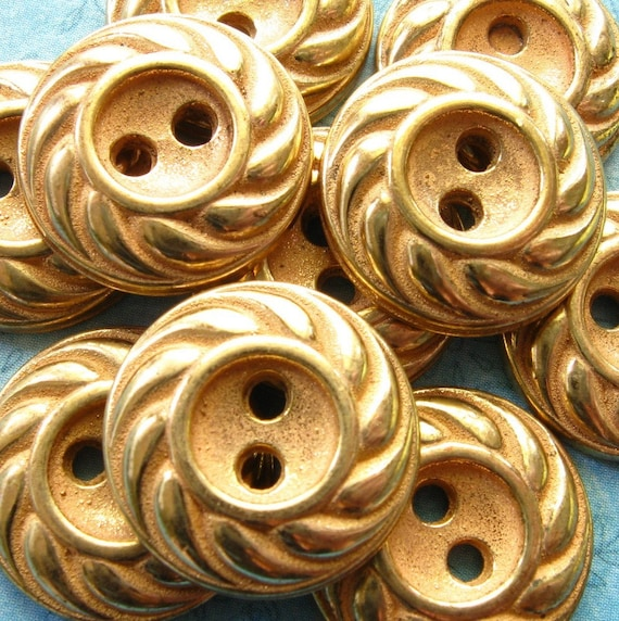 Vintage Buttons - Set of 9 - Gold Metalized Plastic Swirl Pattern