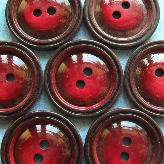 Vintage Buttons - Set of 8 - Glossy Burgundy Casein Plastic Double Border
