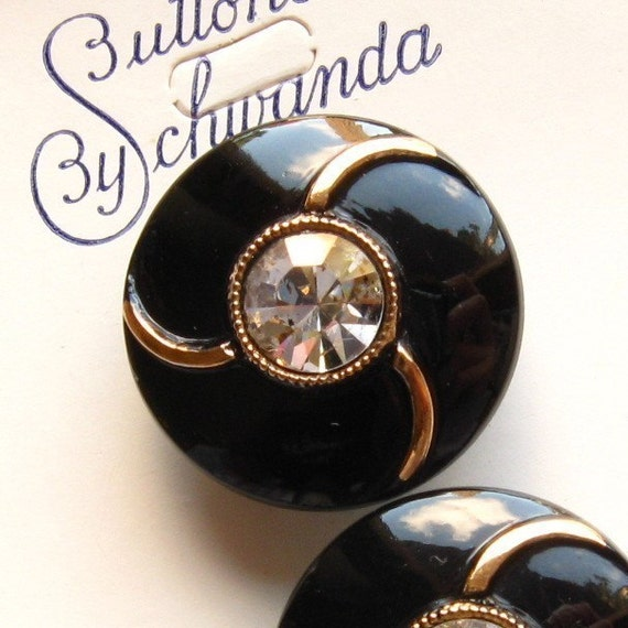 Vintage Glass Buttons - Set of 4 Black and Gold Collector's Card
