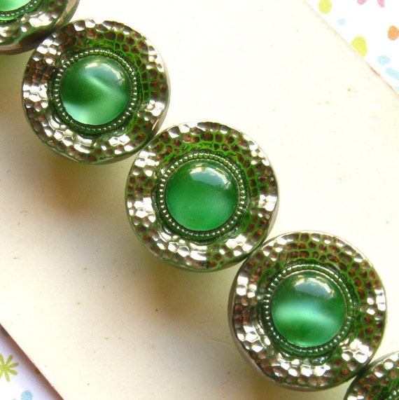 Green Glass Buttons Vintage - Set of 5 Green and Silver Lace Edge Moonglow Collector's Card