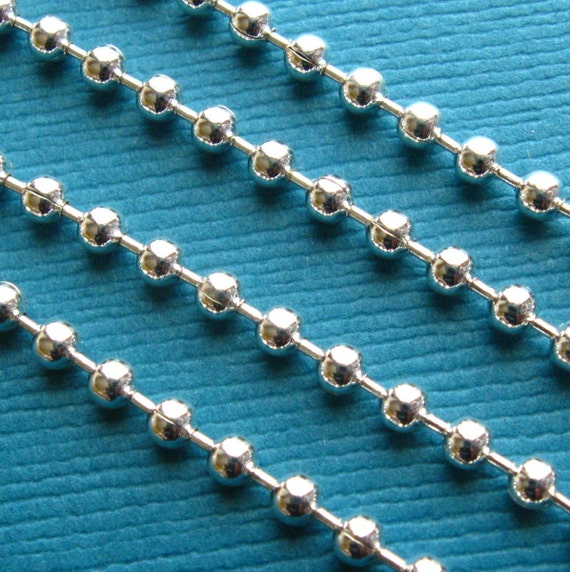 Silver Plated Ball Chain with End Connectors/Clasps - Set of 10 - 24 Inch, 2.4 mm Balls Bright Silver
