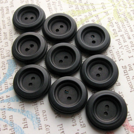Vintage Buttons - Set of 10 Black Vegetable Ivory