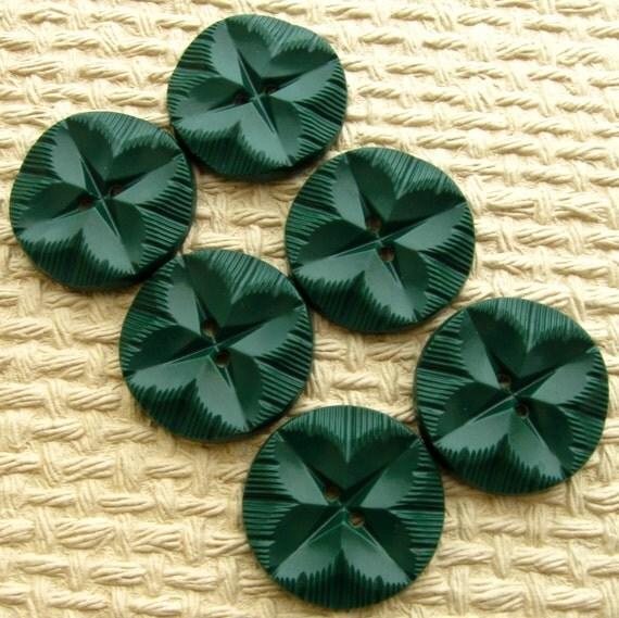 Vintage Buttons - Set of 6 Large Dark Green Plastic Leaf Pattern
