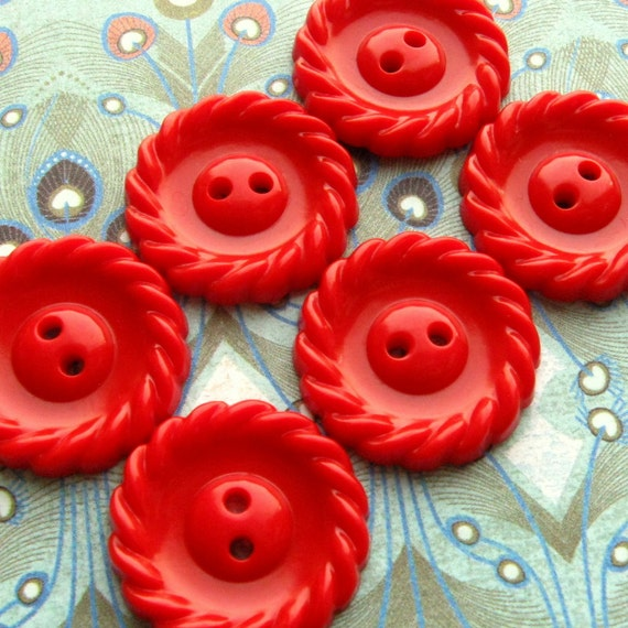 Vintage Buttons -  Set of 6 - Bright Red Plastic with Twisted Edge Detail