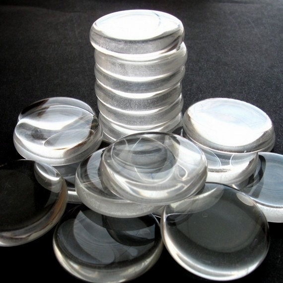 SALE - Clear Glass Circles - Set of 15 Small - 24mm Hand-Cut and Fired Glass Circles - Crystal Clear Colorless Glass