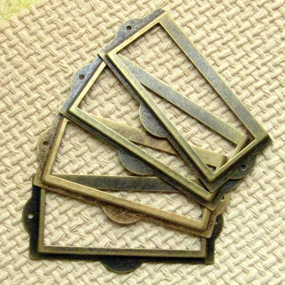 Reserved Listing for Kelly - Set of 4 Label Holders with Matching Brads - Antique Brass Finish