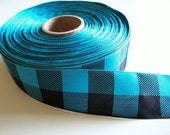 Plaid Ribbon, Teal and Black Check Buffalo Plaid Polyester Ribbon 1 1/2 inches wide x 5 yards, SECOND QUALITY FLAWED, Offray Lodge Plaid