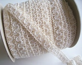 RESERVED FOR GHUNTERSTUDIO Antique Ivory Beaded Gimp Wedding Sewing Trim 3/4 inch wide x 1 yard