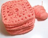 Handmade Crocheted Cotton Granny Squares Set of 12 in Shrimp Orange