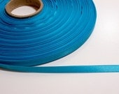 Blue Ribbon, Double-Faced Light Peacock Blue Satin Ribbon 1/4 inch wide x 10 yards