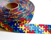 Puzzle Ribbon, Single-sided puzzle pieces satin ribbon 7/8 inch x 3 yards, Autism, Offray Jigsaw Puzzle