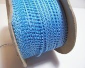 Blue Ribbon, Vintage double-faced  blue picot edge ribbon 1/4 inch x 10 yards