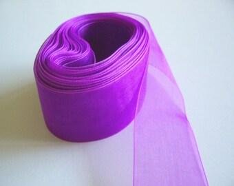 Purple Ribbon, Grape Organza Ribbon 1 1/2 inches wide x 5 yards, Sheer Purple Ribbon