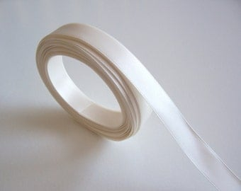 Ivory Ribbon, C & G Brand Antique White,  Ivory Satin Ribbon 5/8 inch wide, Double-Faced Ribbon x 10 yards