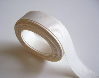 Ivory Ribbon, Ivory Grosgrain Ribbon 1 inch wide x 10 yards, SECOND QUALITY FLAWED
