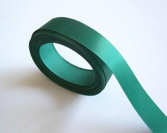Green Ribbon, Single-Faced Pine Green Satin Ribbon 7/8 inch wide x 10 yards