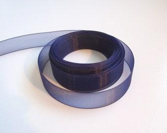 Navy Blue Ribbon, Navy Blue Organza Ribbon 7/8 Inch Wide x 38 yard, 50% Off Sale