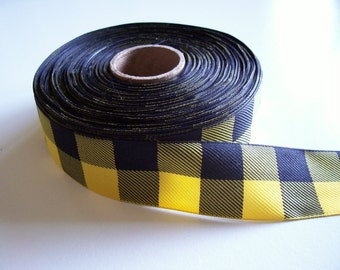 Yellow and Black Check Woven Polyester Ribbon 1 1/2 inches wide x 8 yards, Buffalo Plaid, Offray Lodge Plaid, SECOND QUALITY FLAWED