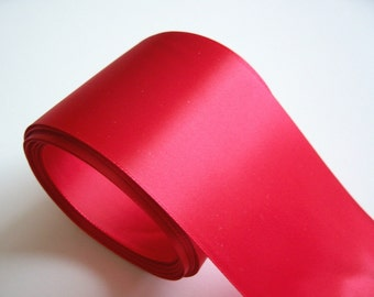 Wide Red Ribbon, Red Single-Faced Satin Ribbon 3 inches wide x 5 yards, SECOND QUALITY FLAWED