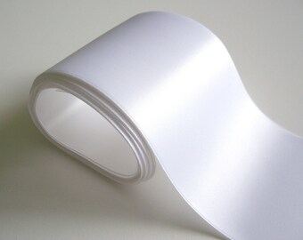 Wide White Ribbon, Double-Sided White Satin Ribbon 4 inches wide x 2 yards, Wedding Sash Ribbon
