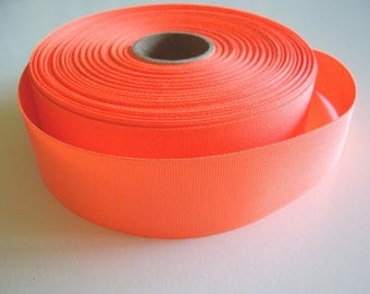Orange Ribbon, Neon Orange Grosgrain Ribbon 1 1/2 inches wide x 5 yards, SECOND QUALITY FLAWED