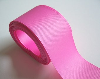 Wide Pink Ribbon, Candy Pink Grosgrain Ribbon 2 1/4 inches wide x 8 yards