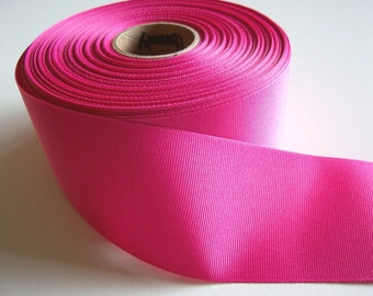 Wide Pink Ribbon, Offray Shock Pink Grosgrain Ribbon 2 1/4 inches wide x 10 yards