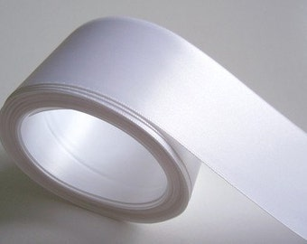 White Ribbon, Double-Faced White Satin Ribbon 2 1/4 inches wide x 3 yards, Offray Ribbon