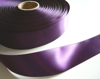 Purple Ribbon, Dark Plum Satin Ribbon 1 1/2 inches wide x 10 yards, Double-Faced, Offray New Plum Ribbon