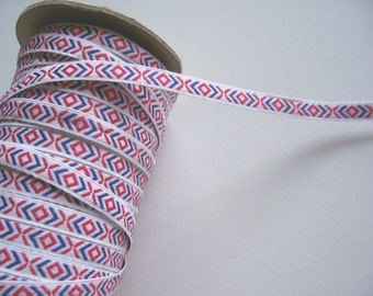 Jacquard Ribbon, Vintage Red, White, and Blue Diamond Embroidered Ribbon 3/8 inch x 3 yards