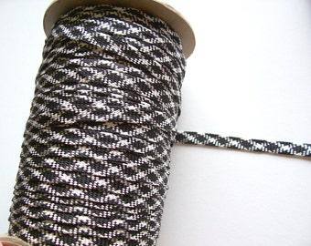 Black Ribbon, Vintage Black and White Diamond Fold-Over Trim 3/4 inch x 3 yards