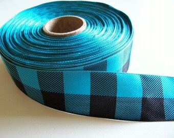Teal and Black Check Buffalo Plaid Polyester Ribbon 1 1/2 inches wide x 5 yards, SECOND QUALITY FLAWED, Offray Lodge Plaid