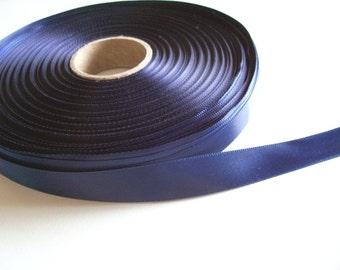 Blue Ribbon, Offray navy blue satin ribbon 5/8 inch x 50 yards, Double-Faced Satin Ribbon