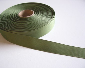 Green Ribbon, Olive Green Grosgrain Ribbon 7/8 inch wide x 10 yards, SECOND QUALITY FLAWED