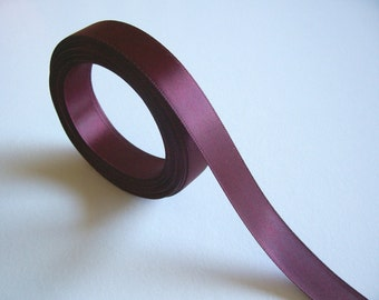Dark Burgundy Ribbon, Double-Faced Wine Satin Ribbon 5/8 inch wide x 9 yards, Offray Ribbon