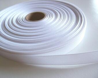 White Ribbon, White Grosgrain Ribbon 5/8 inch wide x 5 yards