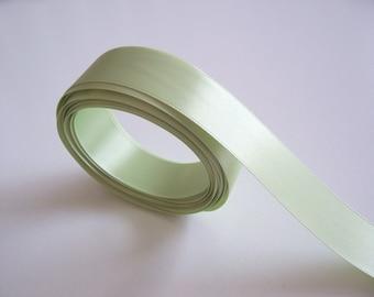 Green Ribbon, Spring Leaf Green Satin Ribbon 7/8 inch wide Single-Faced x 10 yards