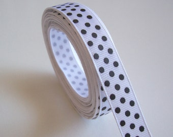 White Ribbon, White and Black Confetti Dot Grosgrain Ribbon 5/8 inch wide x 11 yards, SECOND QUALITY FLAWED, 50% Off Sale