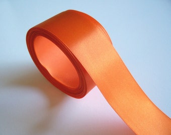 Orange Ribbon, Double-faced orange satin ribbon 1 1/2 inches wide x 10 yards, Offray Torrid Orange Ribbon, SECOND QUALITY FLAWED