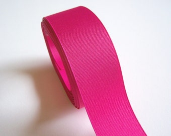 Hot Pink Ribbon, Dark Rose Pink Grosgrain Ribbon 1 1/2 inches wide x 50 yards, Full Bolt of Offray Shock Pink Ribbon
