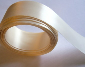 Ivory Ribbon, Antique Ivory Satin Ribbon, Double-Faced  1/2 inches wide x 7 yards, Offray Ivory Ribbon
