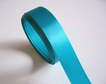 Teal Ribbon, Single-faced teal satin ribbon 7/8 inch wide x 9 yards