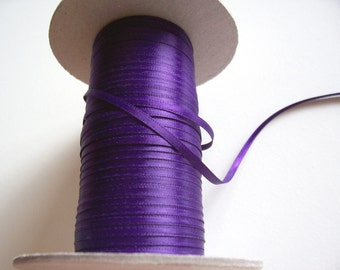 Purple Ribbon, Double-Sided Purple Satin Ribbon 1/8 inch wide, Offray Grappa Purple Ribbon