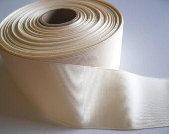 Cream Ribbon, Cream Grosgrain Ribbon 2 1/4 inches wide x 10 yards, Cheer Bows, Weddings