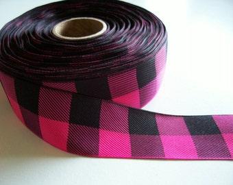 Pink Ribbon, Hot Pink and Black Checked Buffalo Plaid Ribbon 1 1/2 inches wide x 5 yards,  Offray Lodge Plaid