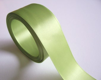 Green Ribbon, Peridot Green Double-Faced Satin Ribbon 1 1/2 inches wide x 24 yards, SECOND QUALITY FLAWED, Offray Lemongrass