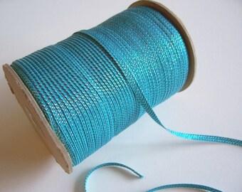 Blue Ribbon, Blue Iridescent Flat Cord Sewing Trim 1/4 inch wide x 10 yards, Blue Ribbon