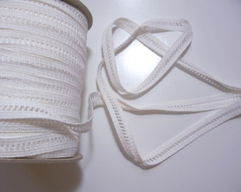 White Ribbon, Vintage White Cotton Lattice Sewing Trim 3/4 inch wide x 3 yards