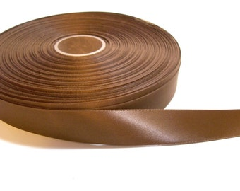 Brown Ribbon, Double-Sided Caramel Brown Satin Ribbon 7/8 inch wide x 5 yards precut, 50% Off Sale