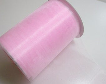 Wide Pink Ribbon, Baby Pink Organza Ribbon 5 inches wide x 25 yards,  Offray Misty Sheer Ribbon, 50% Off Sale